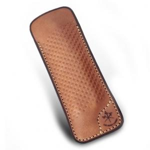LES FINES LAMES Le Petit Leather Cigar Pocket Knife Cutter Case - Racing Vintage Brown