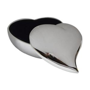 Swish Heart Silver Plated Personalised Trinket Box