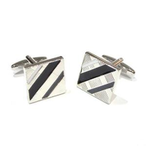 Square Black and Silver Striped Cufflinks