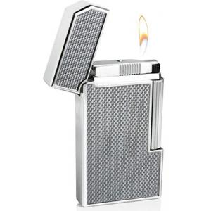 Caseti Full Cap Flint Lighter - Chrome Plated & Silver Carbon Fibre