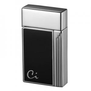 Caseti Full Cap Jet Flame Lighter - Chrome Plated Black Lacquer
