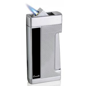 Caseti Push Button Jet Flame Lighter - Chrome Plated & Engine Turn Black Lacquer