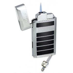 Caseti Jet Flame Lighter with Cigar Punch - Chrome Plated & Black Lacquer