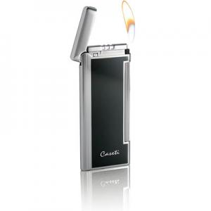 Caseti Soft Flame Flint Lighter - Chrome Plated & Black Lacquer (End of Line)