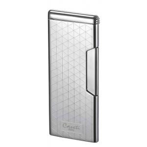 Caseti Push Button Soft Flame Lighter - Chrome Plated & Engine Turn (End of Line)