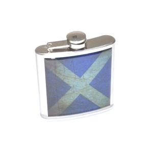 6oz Distressed Scottish Flag Personalised Hip Flask