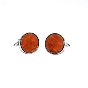 Round Briar Wood and Sterling Silver Cufflinks