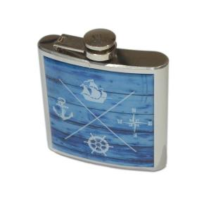 6oz Driftwood Nautical Personalised Hip Flask