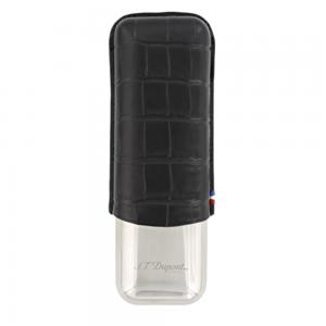 ST Dupont Leather Double Cigar Case Metal Base - Croco Dandy Black