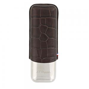 ST Dupont Leather Double Cigar Case Metal Base - Croco Dandy Brown
