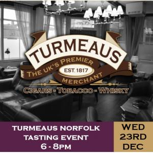 Turmeaus Norfolk Cigar and Spirit Tasting Event -  23/12/20