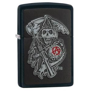 Zippo - Black Matte Sons of Anarchy Emblem - Windproof Lighter