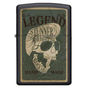 Zippo - Black Matte Legendary Skull Design - Windproof Lighter