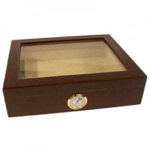 Newport Mahogany Finish Glass Top Humidor - 20 Cigar Capacity