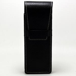 Black Leather Fold Over Cigar Case - Hold 2 Large Cigars