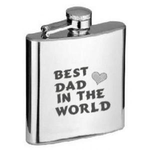 6oz Best Dad In The World Personalised Hip Flask