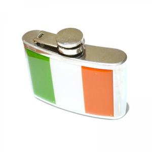 4oz Irish Flag Stainless Steel Personalised Hip Flask