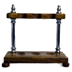 Wood with Chrome Pillars Pipe Rack - Holds 3 Pipes