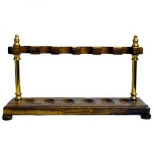 Wood with Brass Pillars Pipe Rack - Holds 6 Pipes