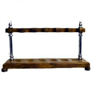 Wood with Chrome Pillars Pipe Rack - Holds 6 Pipes