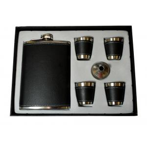 Honest 9oz Black Leather Flask & 4 Cup Gift Set