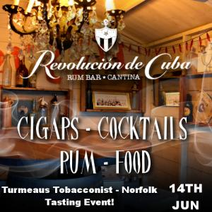 Turmeaus Norfolk Whisky and Cigar Tasting Event Che's Birthday Bash!- 14/6/18