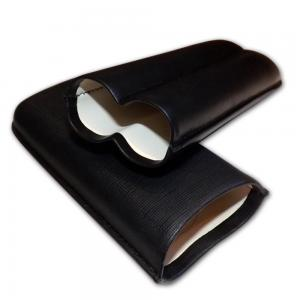 Black Leather Cigar Case by Sikarlan - Fits two cigars - 64 Ring Gauge