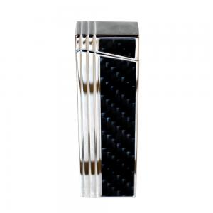 Caseti Push Button Jet Flame Lighter - Chrome Plated & Engine Turn Black Carbon (End of Line)