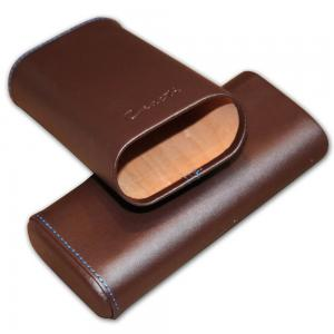 Caseti Leather Cigar Case – With Cedar Lining – 3 cigars capacity – Brown