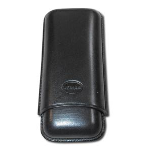 Jemar Leather Cigar Case - Large Gauge - Two Cigars - Black