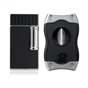 Colibri Julius Lighter & SV Cutter Set - Black & Chrome