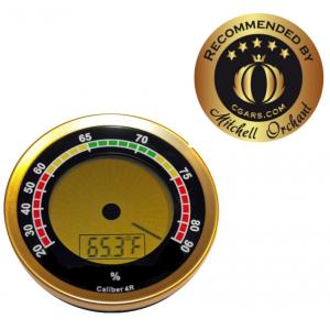 Caliber 4R - Gold Digital Round Thermo-Hygrometer