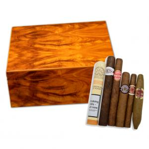 Stormlands Golden Mahogany Humidor and Budget Cuban Cigar Sampler