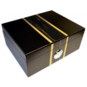 Matte Black with Centre Detailing Humidor - 50 Cigar Capacity