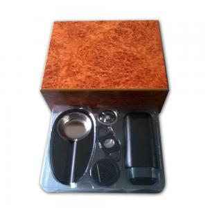 Humidor Starter Kit - Burl Humidor + Cigar Accessories