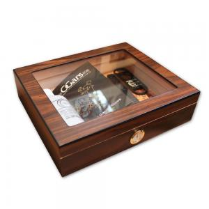 Diego Glass Top Walnut Humidor - 20 Cigars Capacity