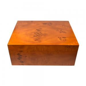 Sikarlan Matt Light Burl Humidor - 40 Cigar Capacity