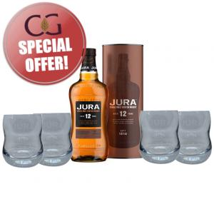 Isle of Jura 12 Year Old + 4 Whisky Glasses Sharing Set