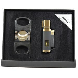 Honest Cigar Lighter and Cutter Set - Black and Chrome (HON112)