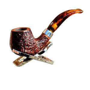 Mastro de Paja Rustic Amber Stem Apple Curved Italian Pipe (0009)