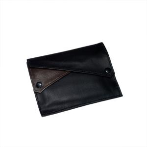 Dr Plumb Leather Wallet Style Black & Brown Double Pocket Tobacco Pouch