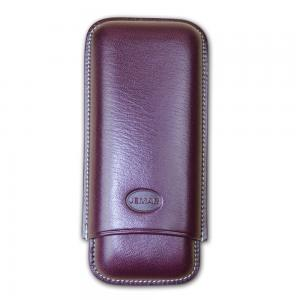 Jemar Leather Cigar Case - Large Gauge - Two Cigars - Dark Aubergine