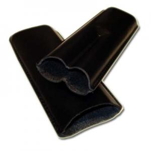 GBD Plain Leather Cigar Case - Two Churchill - Black