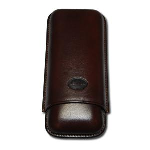 Jemar Leather Cigar Case - Large Gauge - Two Cigars - Brown