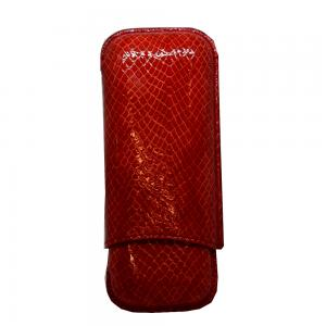 JANUARY SALE - Recife Red Textured Cigar Case - 2 Cigar Capacity