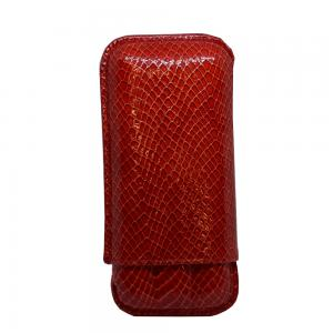 JANUARY SALE - Recife Red Textured Cigar Case - 3 Cigar Capacity