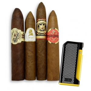 LIMITED TIME SAMPLER - Dominican Cigars + Colibri Monza Black & Yellow Lighter