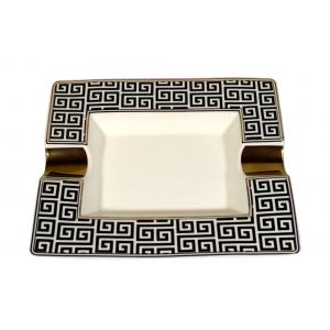 Angelo Ceramic Chequer Cigar Ashtray - 2 Cigar Rests