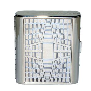 Double Sided Cigarette Case - Square and Blue Line Pattern