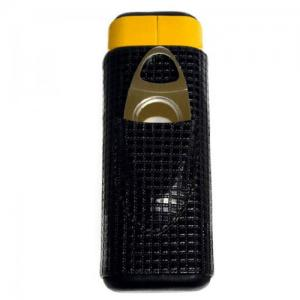 Black And Yellow Cigar Case - 64 Ring Gauge with Cutter